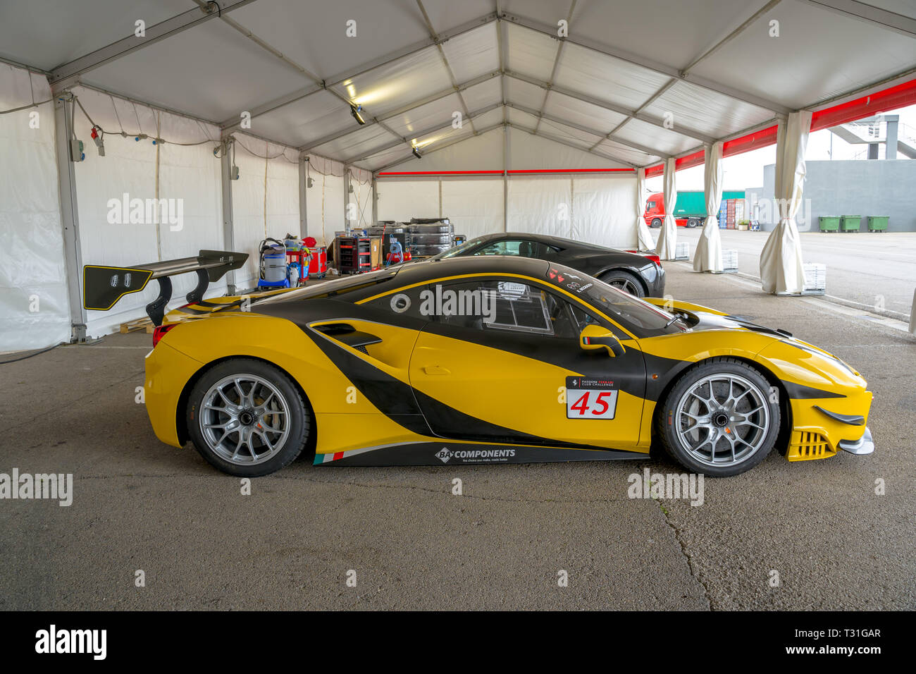 Valencia Spain March 30 2019 Yellow Ferrari 458 Speciale A Luxury Sport Car Car Showroom Stock Photo Alamy