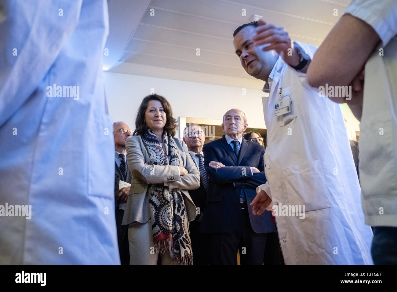 Agnès Buzyn Minister of Health inaugurated pavilion H of Edouard Herriot hospital in Lyon Stock Photo