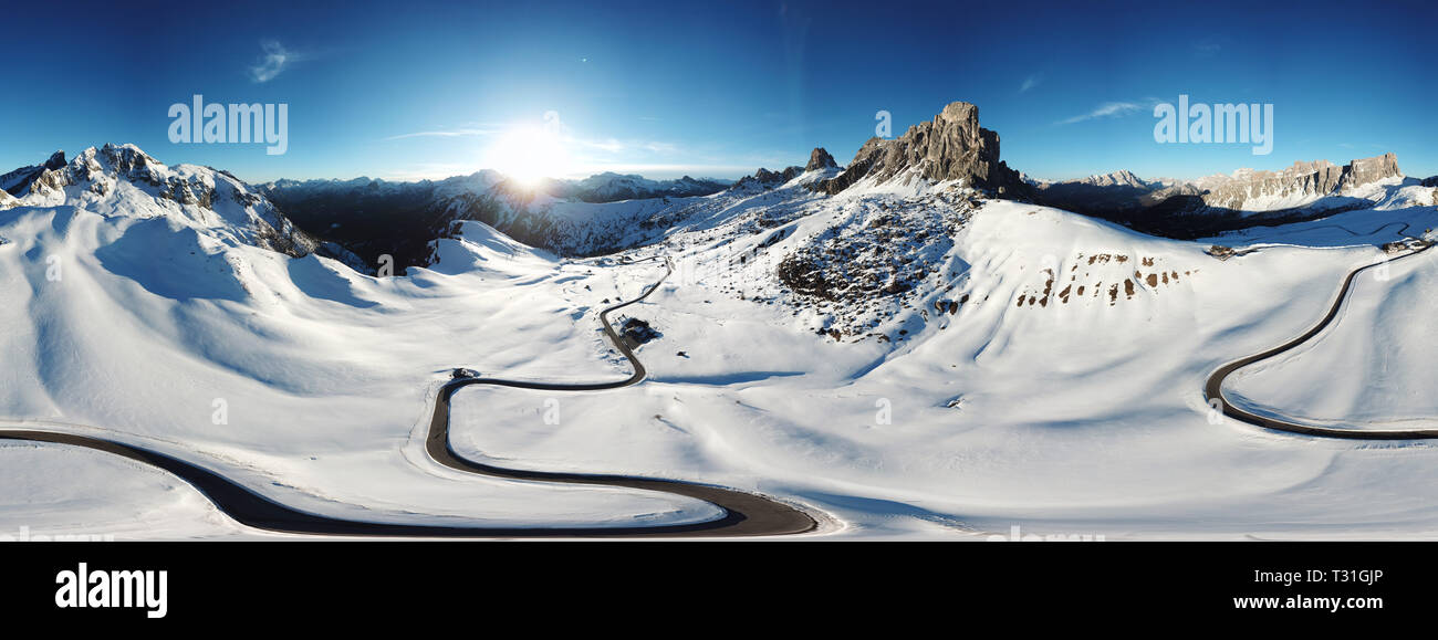 Panoramic view of Ra Gusela peak in front of mount Averau and Nuvolau, in Passo Giau, high alpine pass near Cortina d'Ampezzo, Dolomites, Italy of Ra  - Stock Image