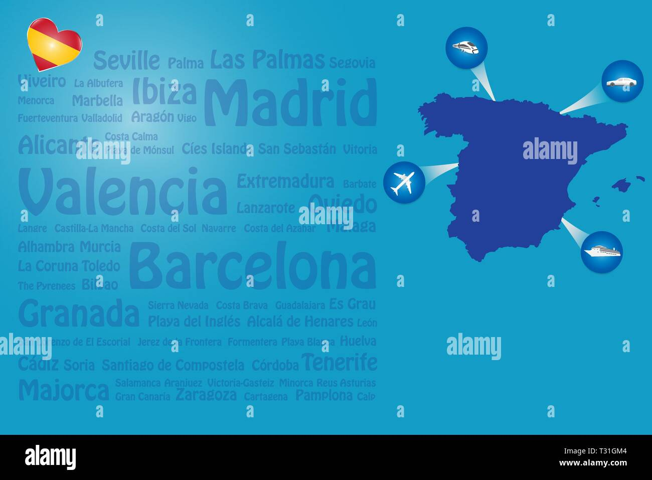Map Of Spain Showing Murcia.Travel Spain Template Vector Showing The Plane Car Train And Ship