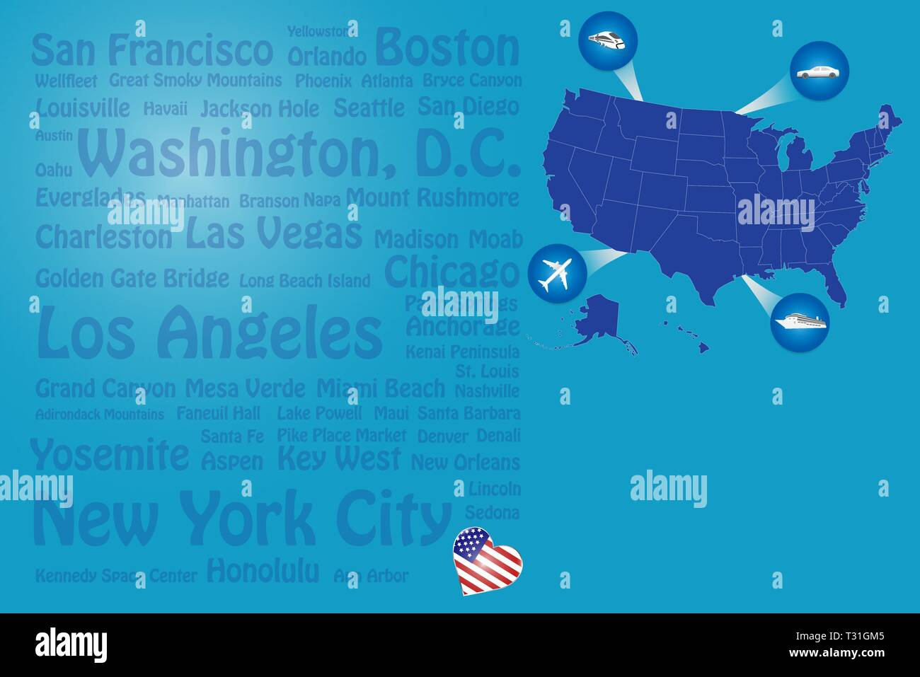 Travel Usa Template Vector Showing The Plane Car Train And Ship - Us-map-with-landmarks