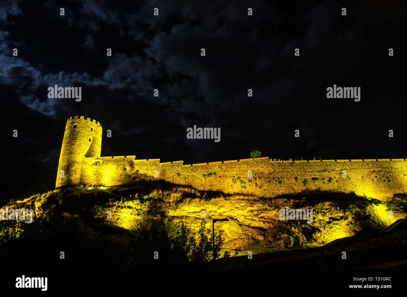 Night view of illuminated Rabati Fortress Castle in Akhaltsikhe town in Southern Georgia. - Stock Image
