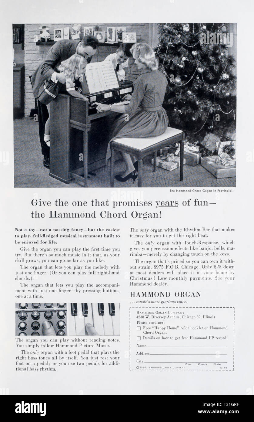 1960 magazine advert advertising Hammond Organs. - Stock Image