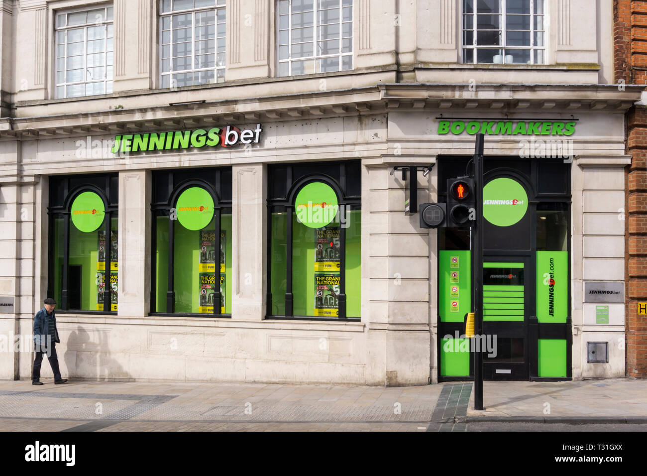 A branch of Jennings Bet bookmakers in the old closed premises of Lloyds Bank on Bromley Market Square, South London. Stock Photo