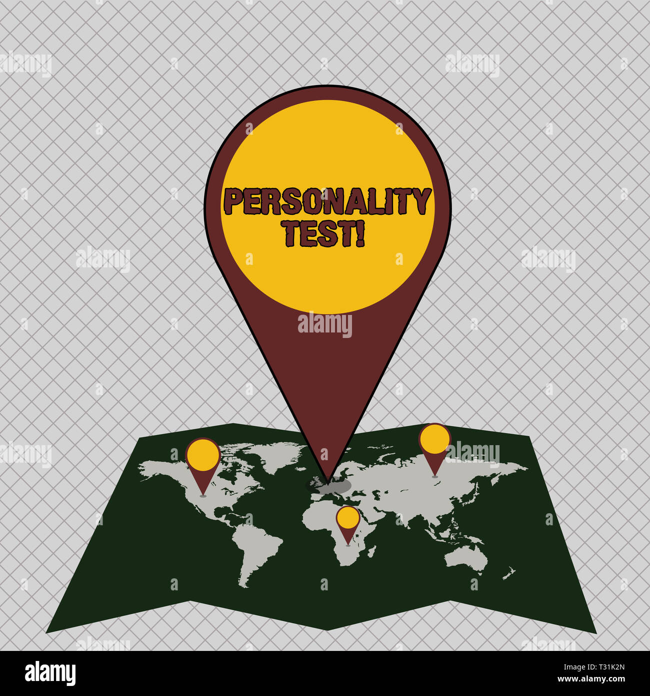 Conceptual hand writing showing Personality Test. Concept meaning method used assessing huanalysis demonstratingality constructs Colorful Location Pin - Stock Image