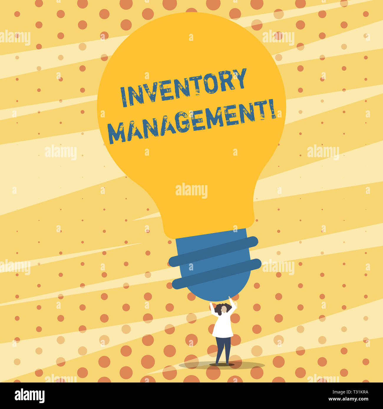 Text sign showing Inventory Management. Business photo showcasing supervision of non capitalized assets and stock items Person Standing and Raising Up - Stock Image