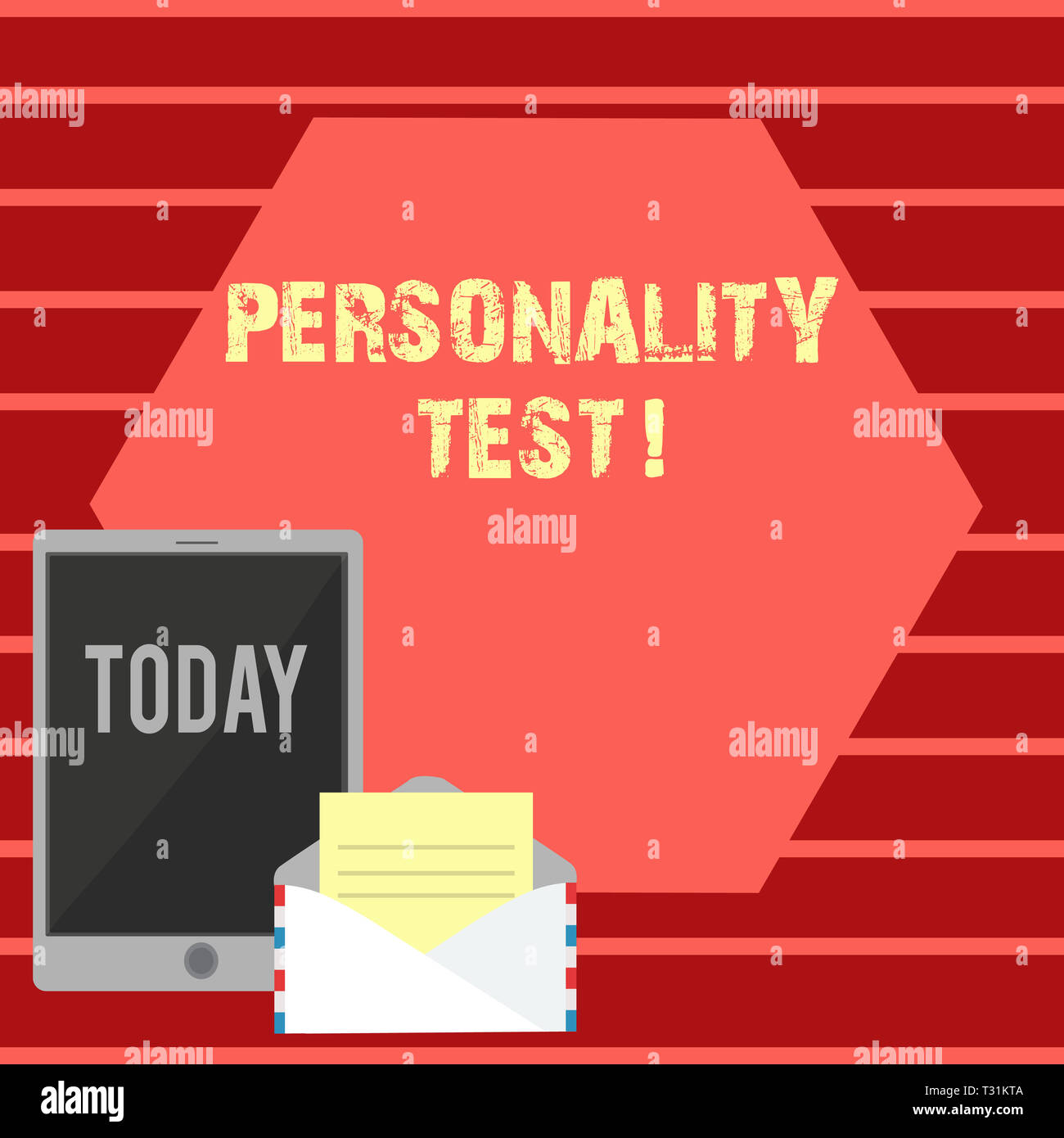 Writing note showing Personality Test. Business concept for method used assessing huanalysis demonstratingality constructs Envelope with Paper and Tab - Stock Image