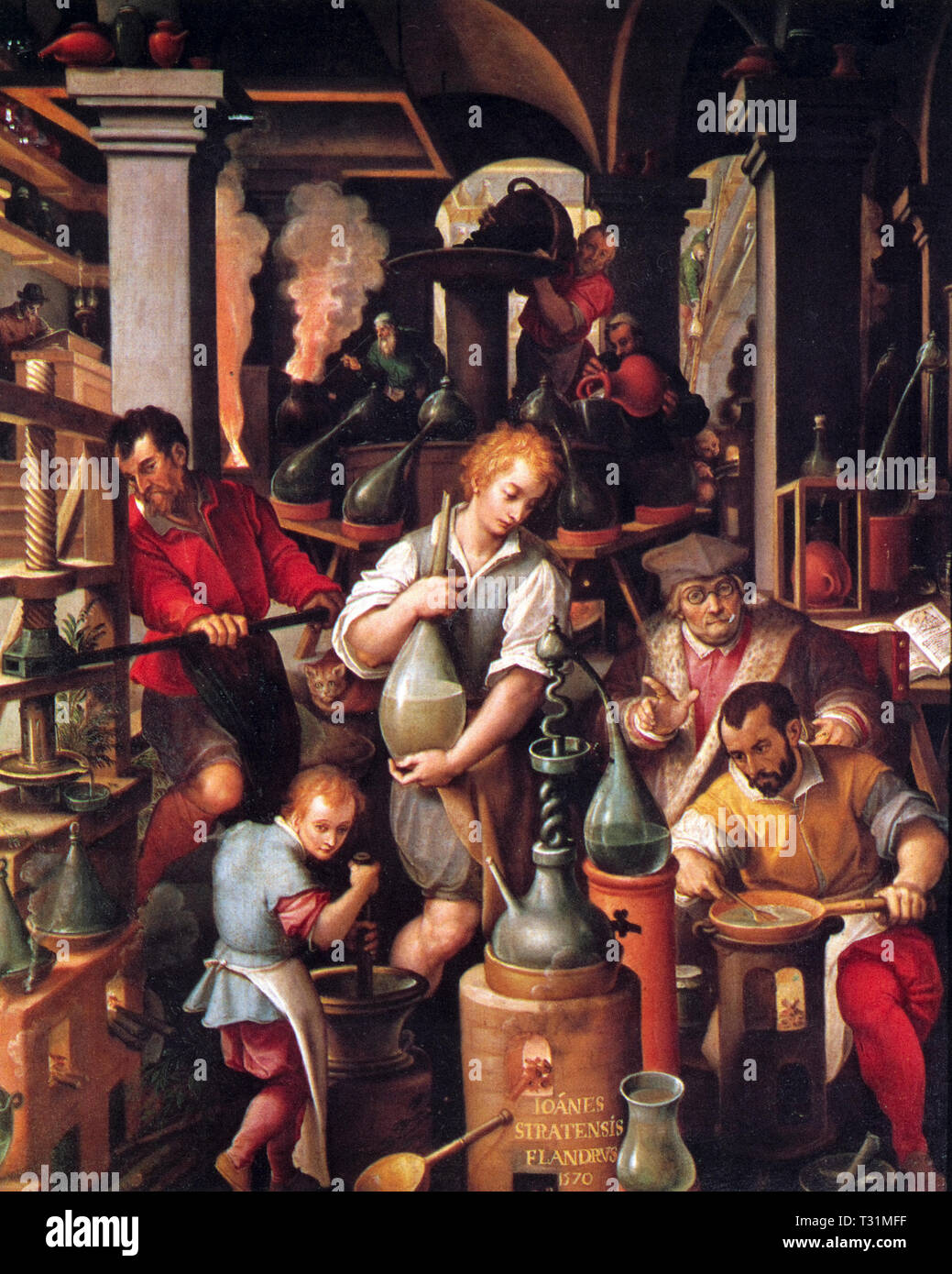 Italy Florence Palazzo Vecchio - This painting by the Flemish painter Giovanni Stradano, Italianized name by Jan van der Straet (Bruges, 1523 - Florence, 1605), depicts the alchemist's laboratory 1580 - Stock Image