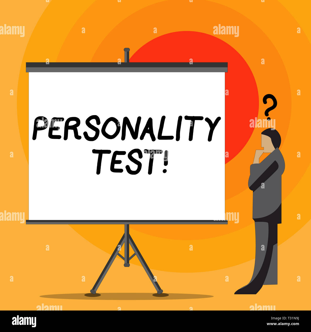Writing note showing Personality Test. Business concept for method used assessing huanalysis demonstratingality constructs Businessman with Question M - Stock Image
