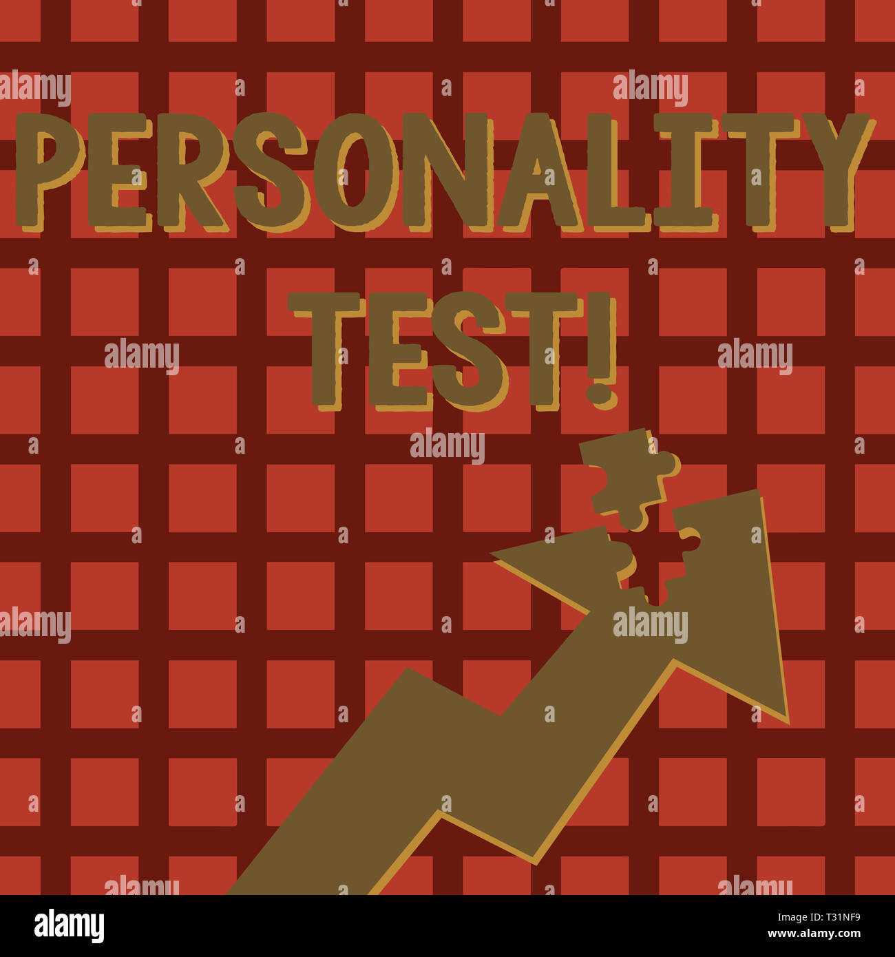 Writing note showing Personality Test. Business concept for method used assessing huanalysis demonstratingality constructs Arrow Pointing Up with Deta - Stock Image