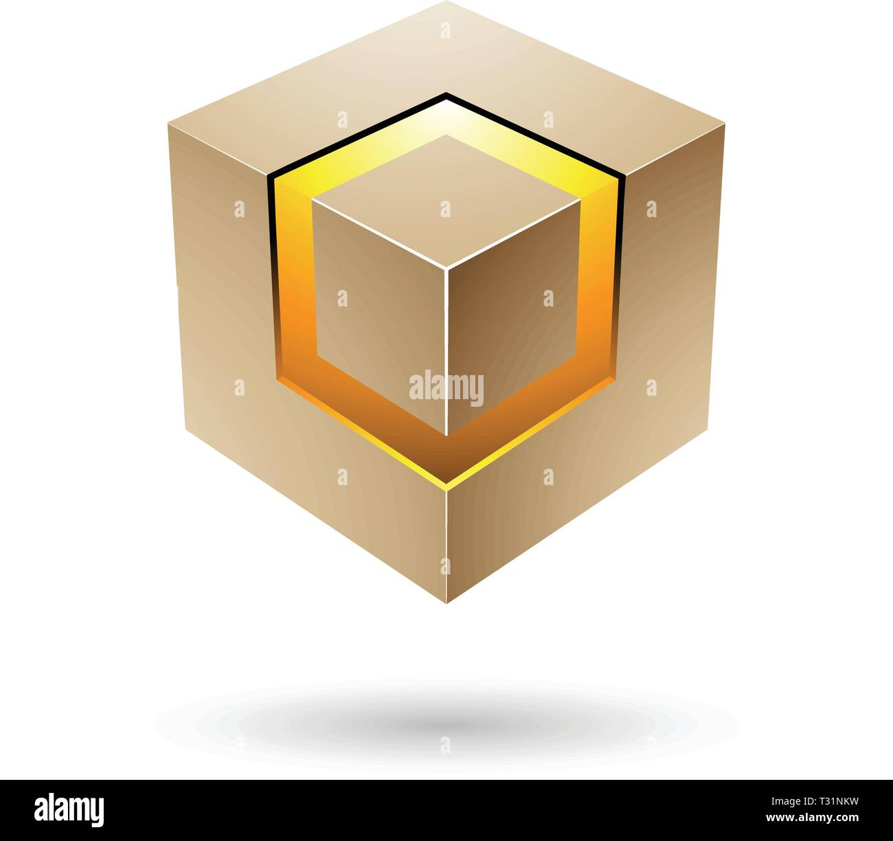 Vector Illustration of Beige Bold Cube with Glowing Core isolated on a white background - Stock Vector