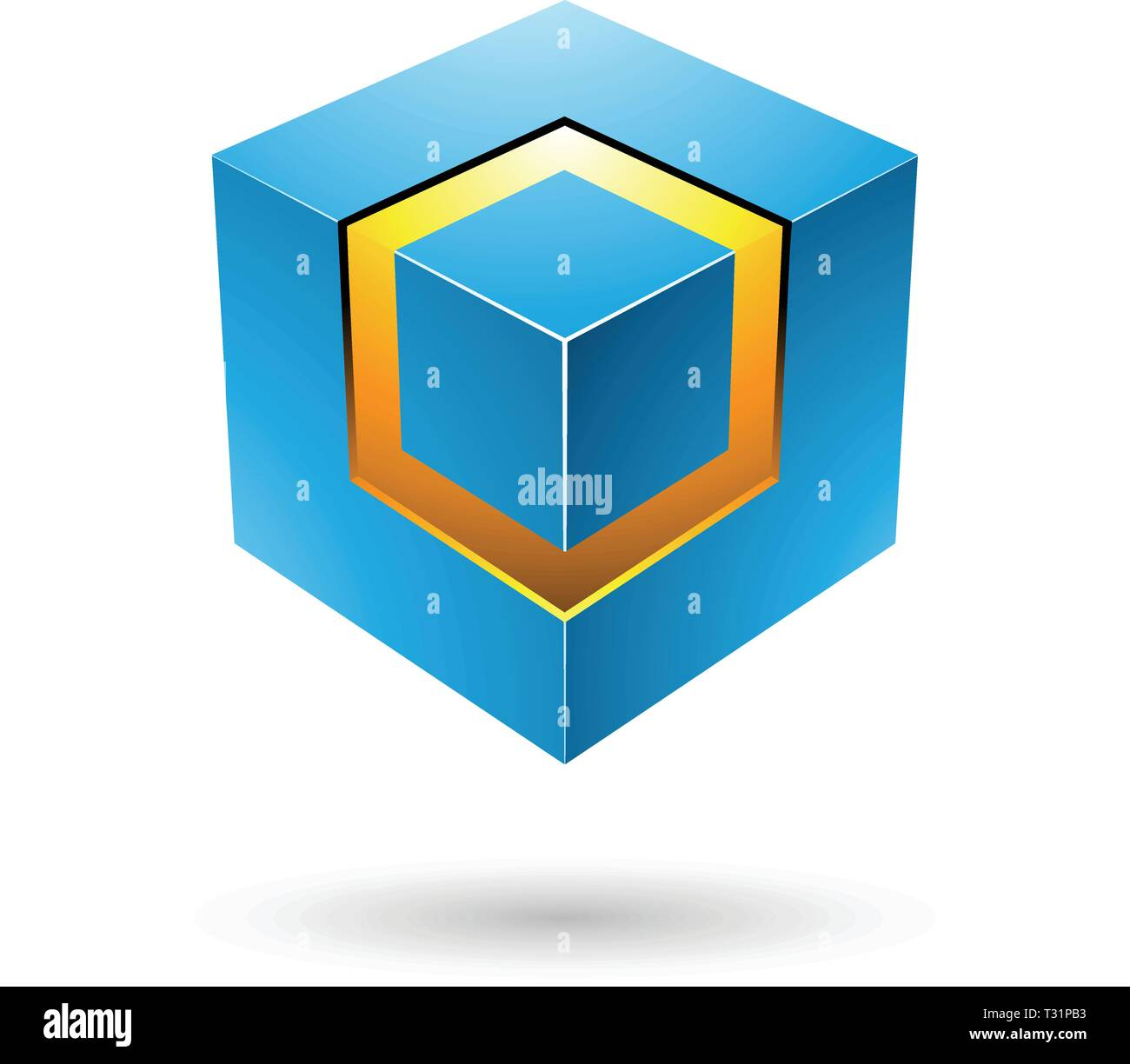 Vector Illustration of Blue Bold Cube with Glowing Core isolated on a white background - Stock Vector