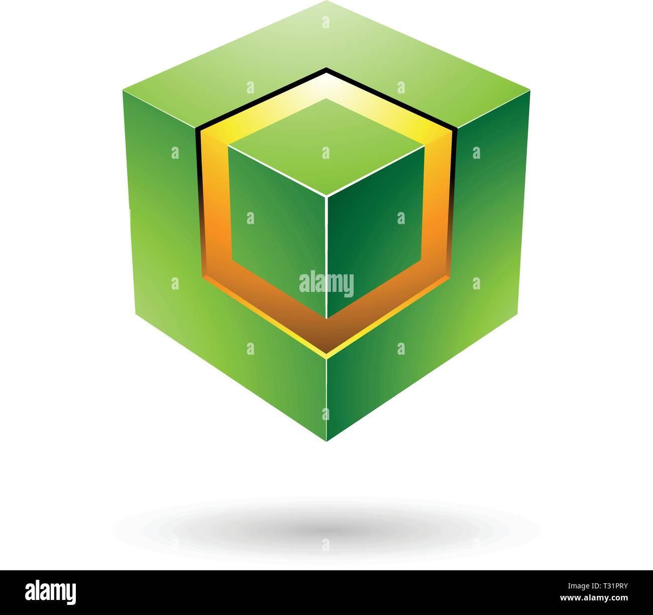 Vector Illustration of Green Bold Cube with Glowing Core isolated on a white background - Stock Vector