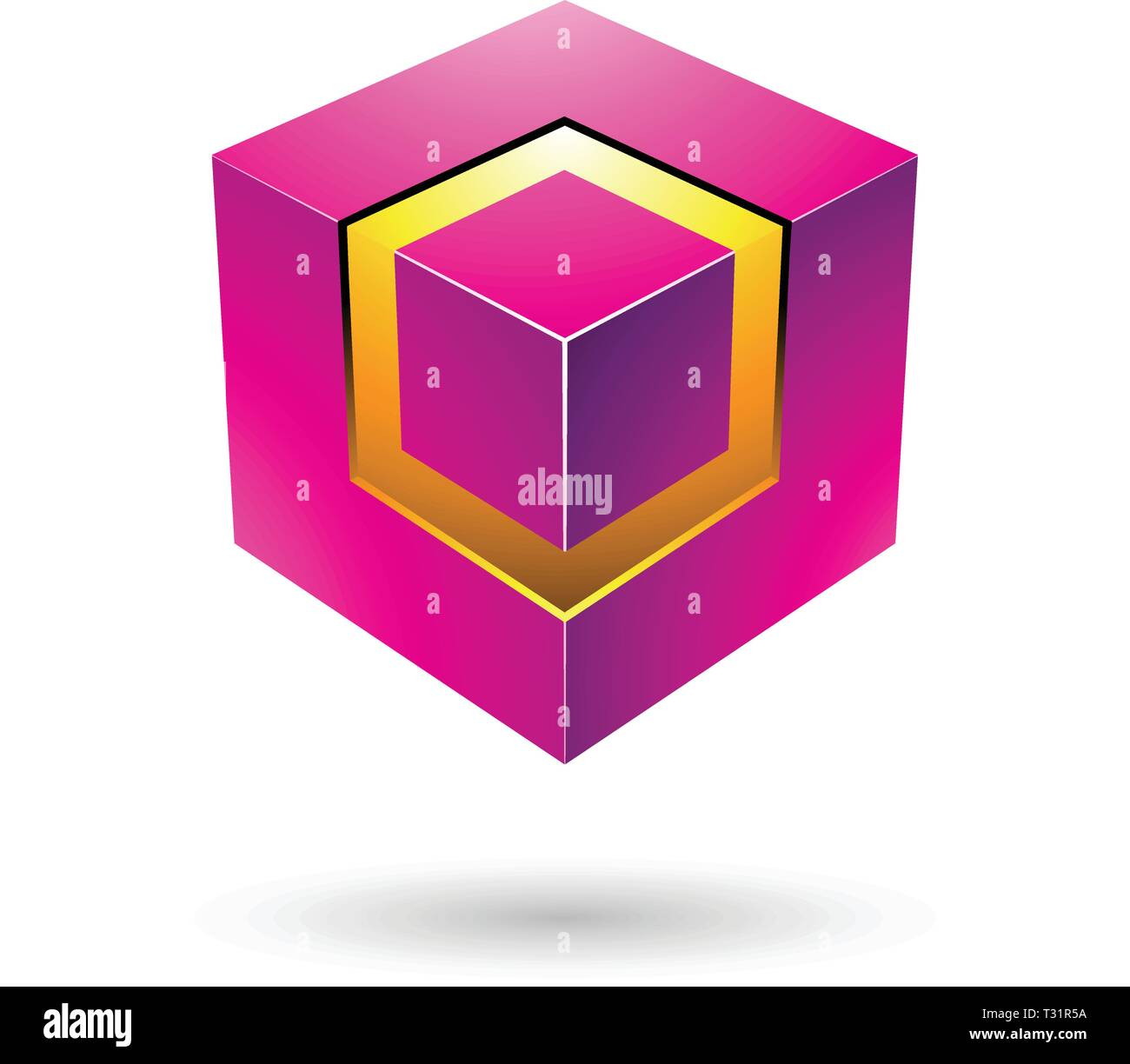 Vector Illustration of Magenta Bold Cube with Glowing Core isolated on a white background - Stock Vector