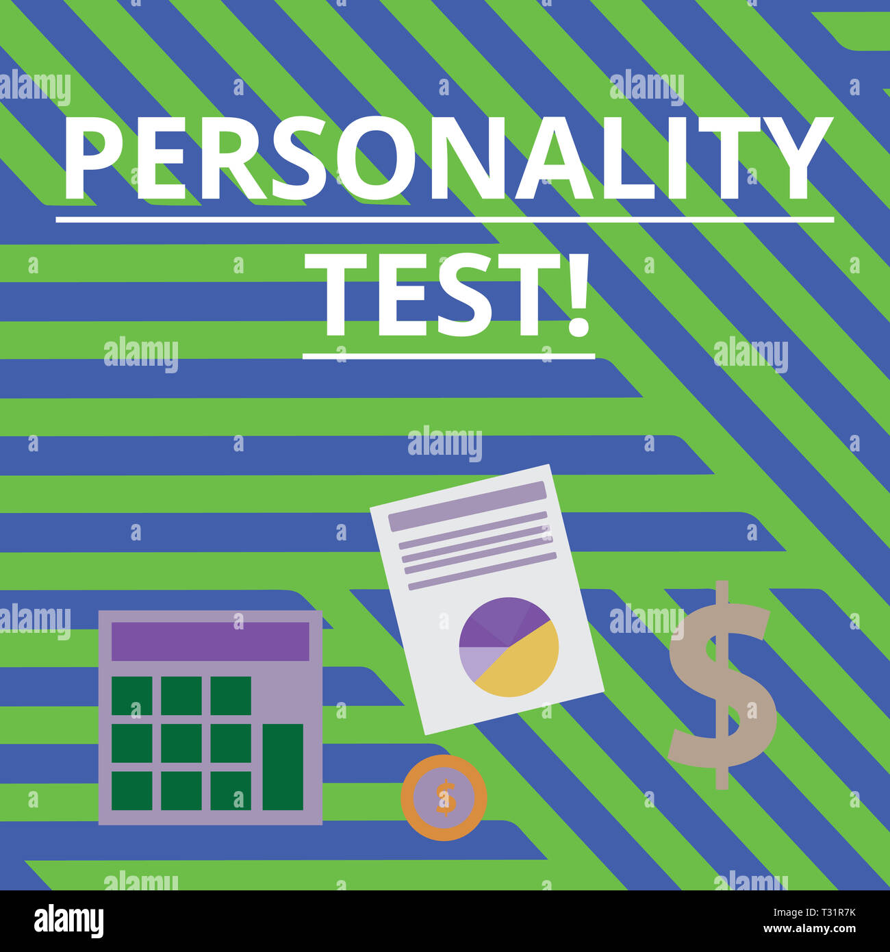 Word writing text Personality Test. Business photo showcasing method used assessing huanalysis demonstratingality constructs Computing Dollar Investme - Stock Image
