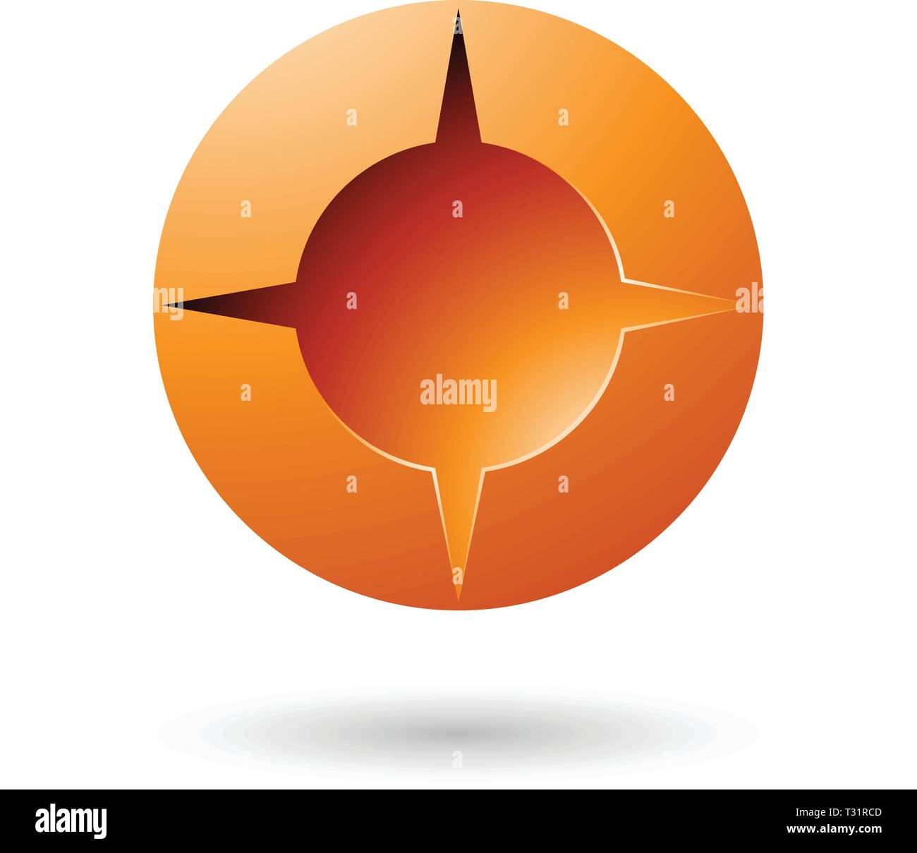 Vector Illustration of Orange and Bold Shaded Round Icon isolated on a white background Stock Vector