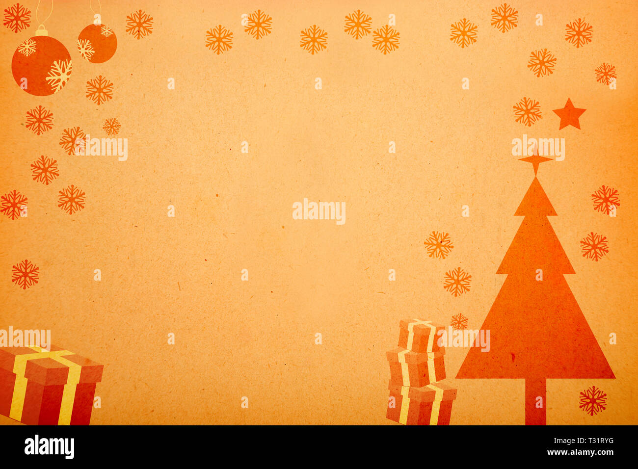 Christmas Ornaments Vector.Christmas Ornaments Vector Design On Old Paper Texture Stock