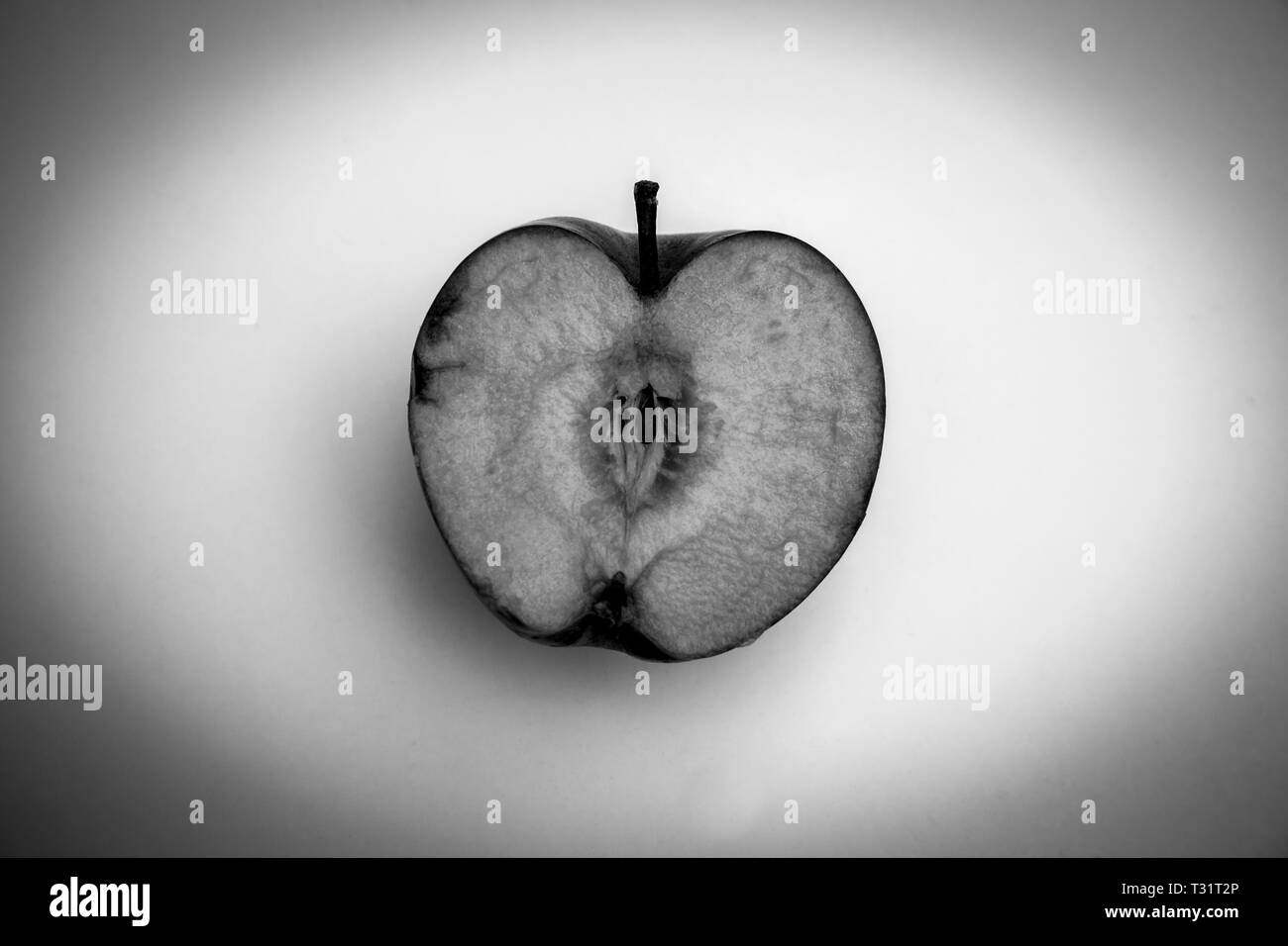 Black and White Apple - Stock Image
