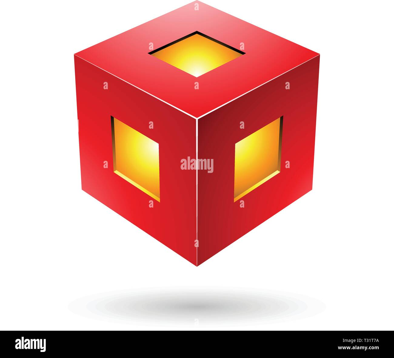 Vector Illustration of Red Bold Lantern Cube isolated on a white background Stock Vector