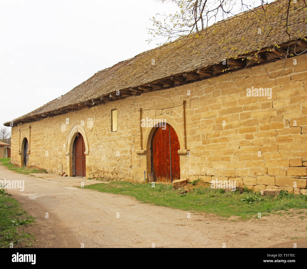 Ancient house made of stone that was used for storing wine - Stock Image
