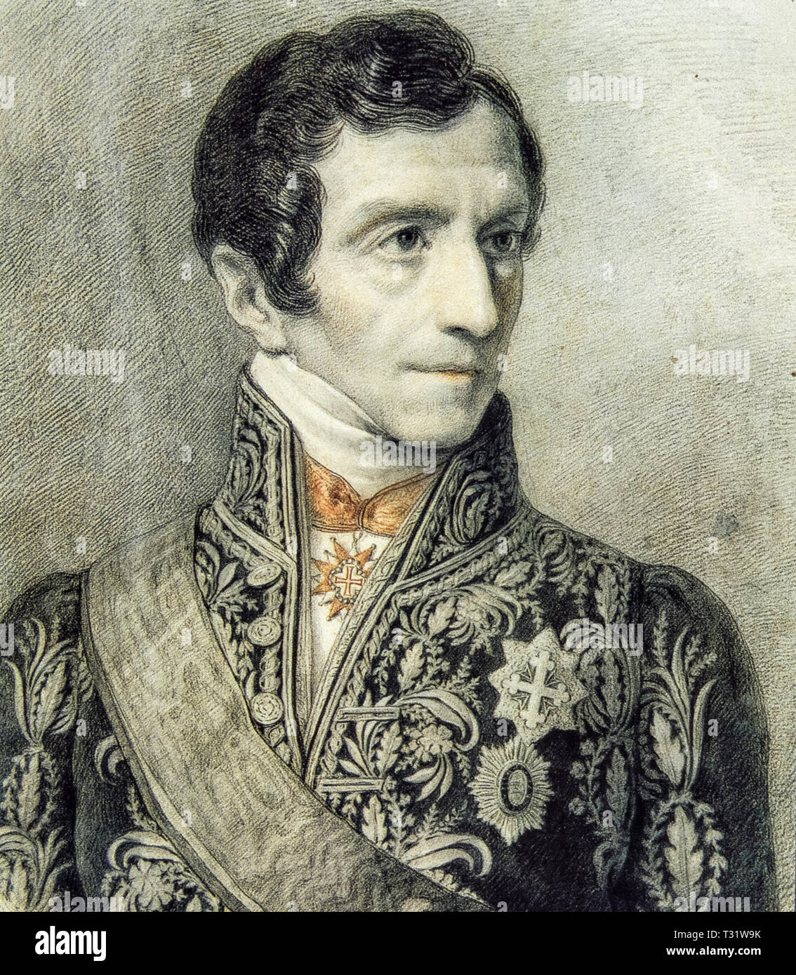 Luigi Giuseppe Barbaroux known as Giuseppe Barbaroux (Cuneo, 6 December 1772 - Turin, 11 May 1843) was an Italian lawyer, jurist, lawyer general at the Senate of Genoa in 1815 and then ambassador to Rome from 1816 to 1824 - Stock Image