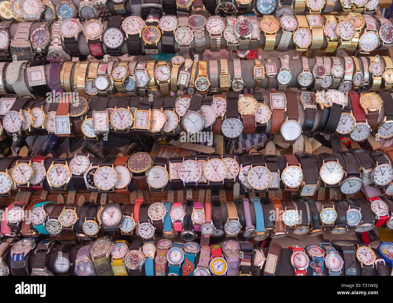 Display of wrist watches for sale. - Stock Image