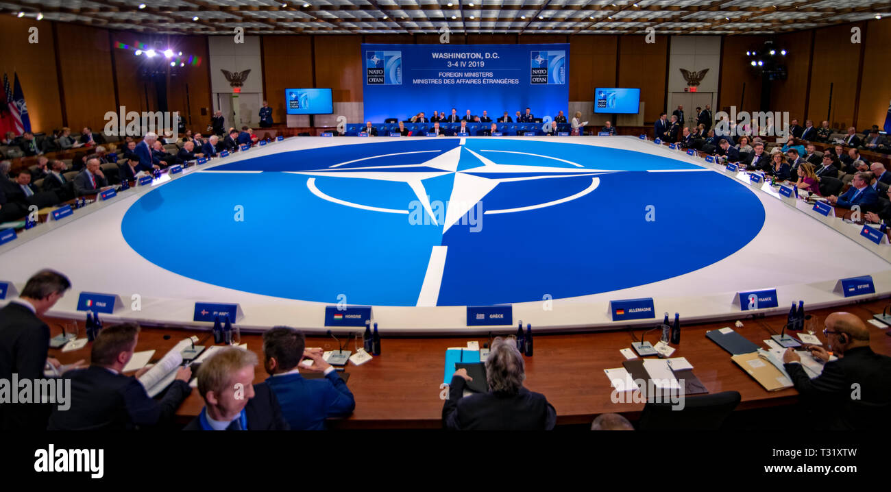 NATO Foreign Ministers and Secretary General Jens Stoltenberg participate in a plenary session during the NATO Ministerial at the State Department April 4, 2019 in Washington, D.C. - Stock Image