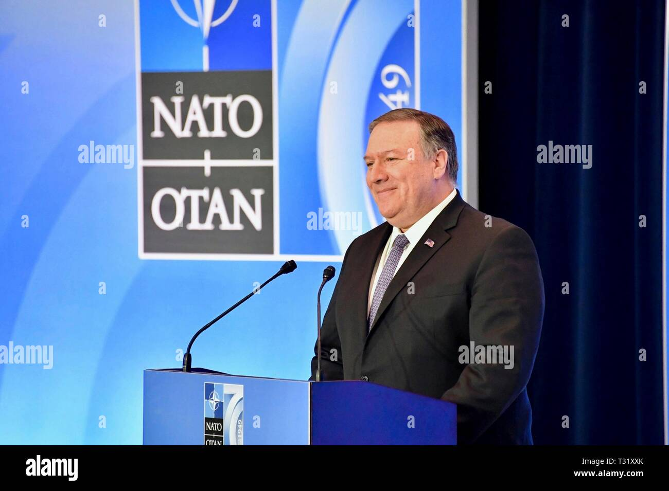 U.S. Secretary of State Mike Pompeo delivers remarks during a press conference at the NATO Ministerial in the State Department April 4, 2019 in Washington, D.C. - Stock Image
