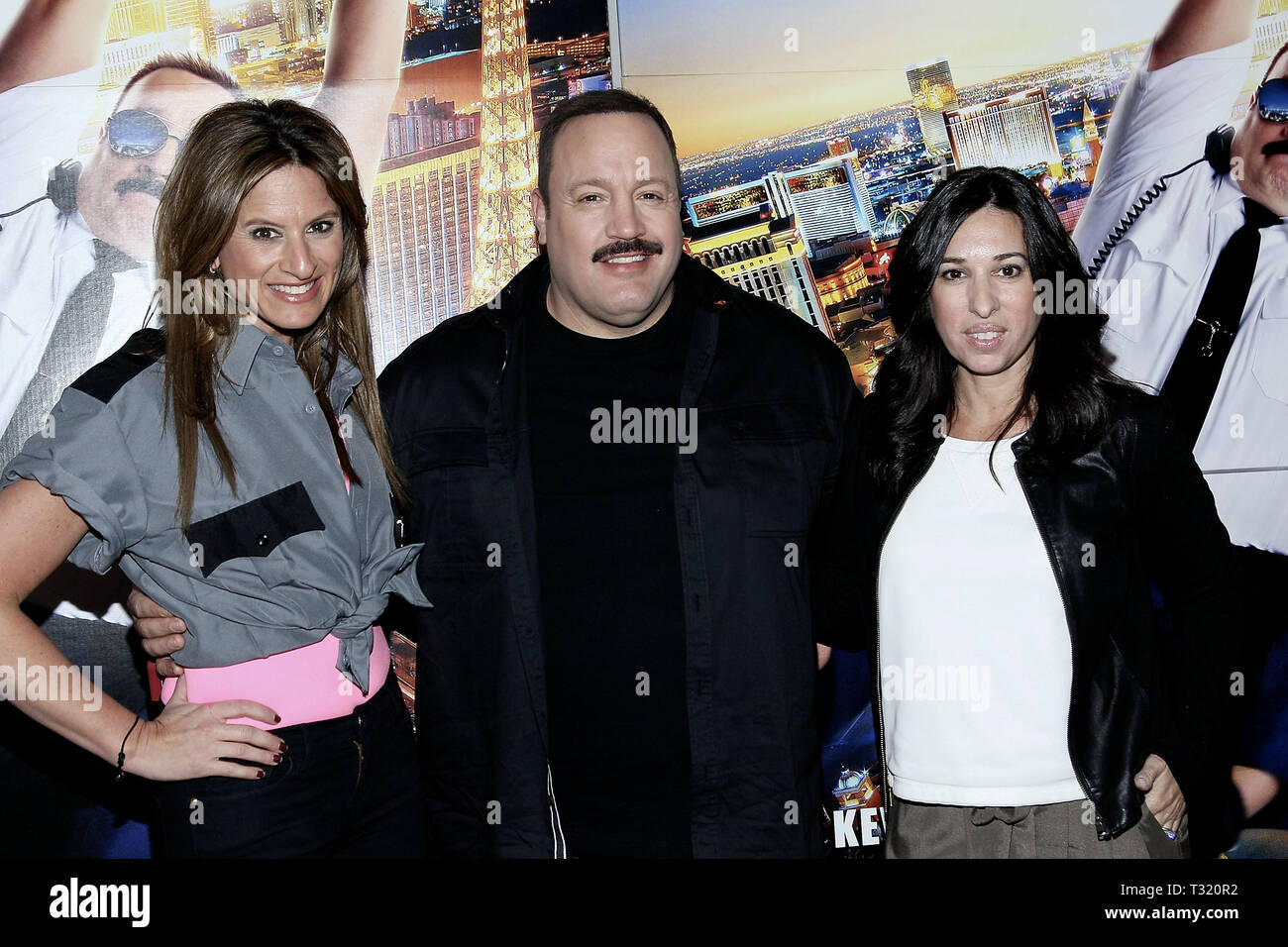 New York, USA. 13 Apr, 2015.  Media personalities, Denise Albert, (L), and, Melissa Musen Gerstein, (R) of The Moms join actor, Kevin James, (C) in a photo at The Moms 'Paul Blart: Mall Cop 2' Screening at AMC Loews Lincoln Square 13 on April 13, 2015 in New York, NY . Credit: Steve Mack/S.D. Mack Pictures/Alamy - Stock Image