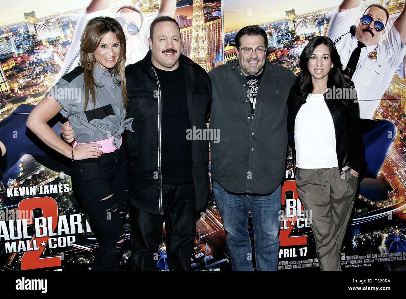 New York, USA. 13 Apr, 2015.  Media personalities, Denise Albert, (L), and, Melissa Musen Gerstein, (R) of The Moms join actor, Kevin James, director, Andy Fickman, (C) in a photo at The Moms 'Paul Blart: Mall Cop 2' Screening at AMC Loews Lincoln Square 13 on April 13, 2015 in New York, NY . Credit: Steve Mack/S.D. Mack Pictures/Alamy - Stock Image
