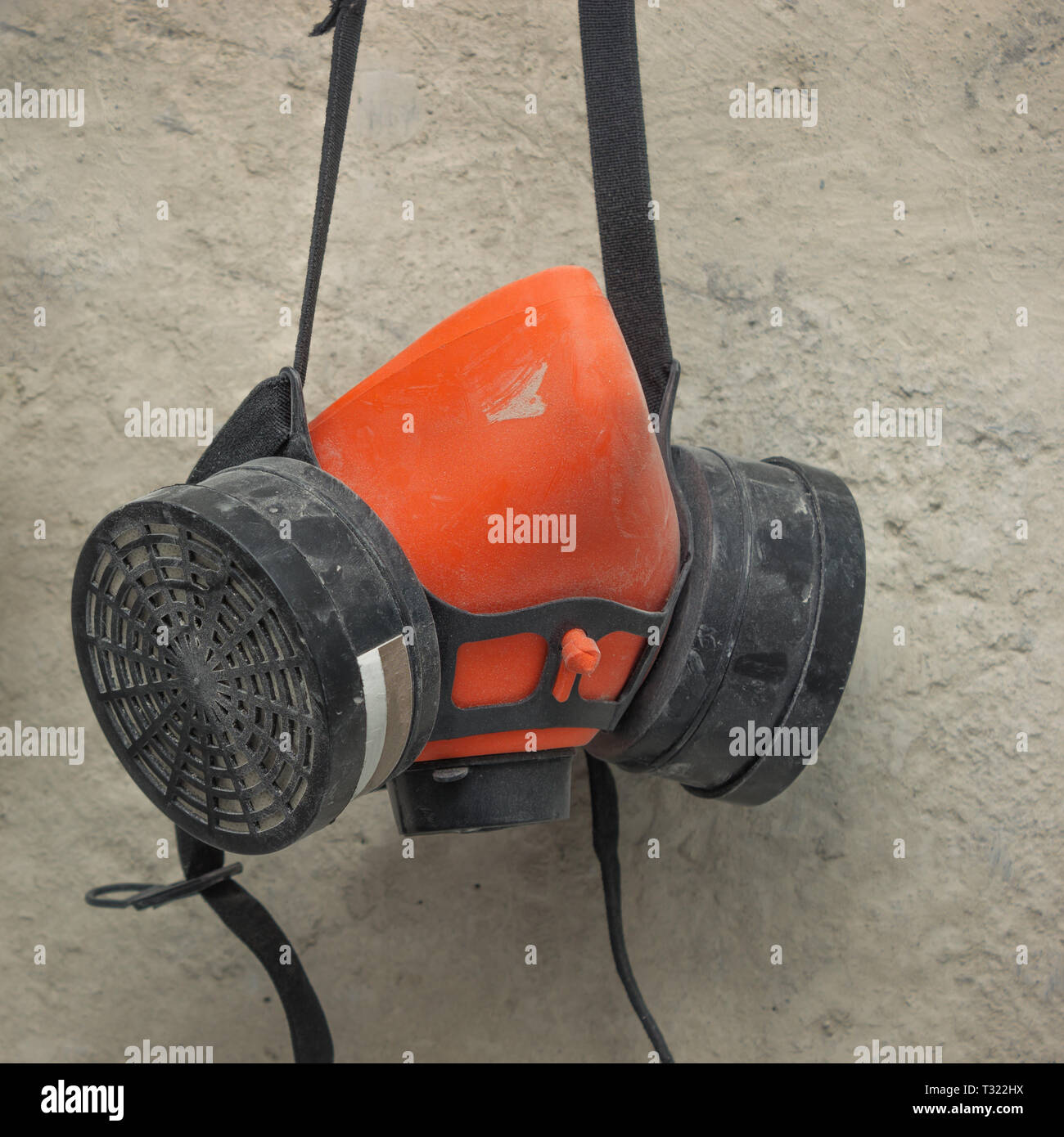 Used respirator hanging on the wall, we continue to repair - Stock Image