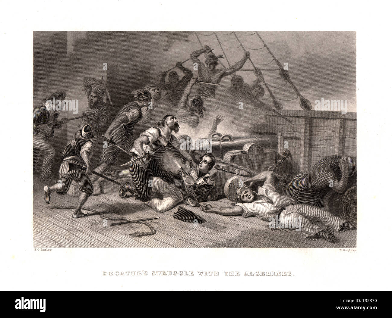 Decateur's Struggle with the Algerians at the Battle off Cape Gata during the Barbary Wars, North Africa Stock Photo
