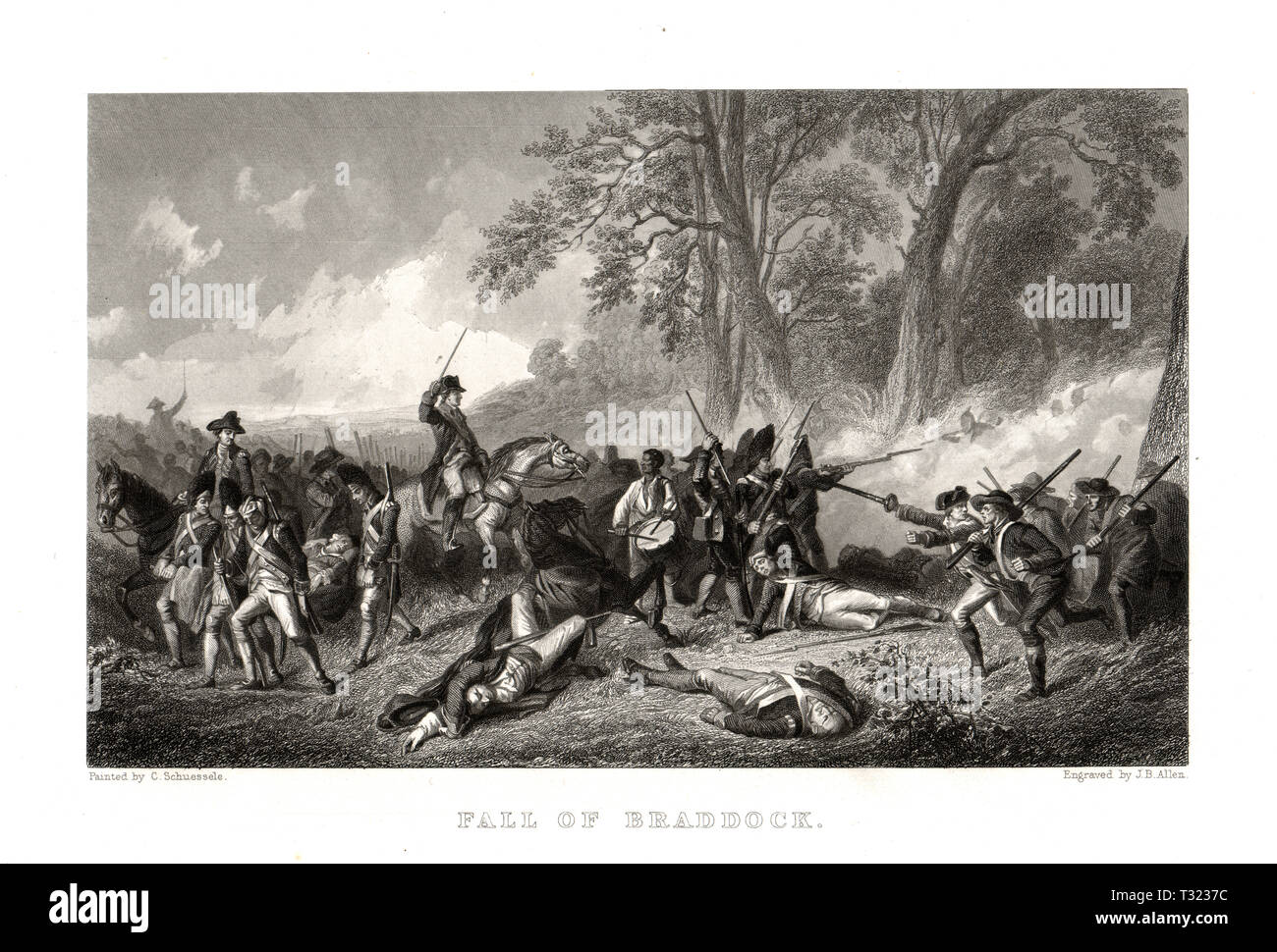 The Death of General Braddock at the Battle of Monogahela, French and Indian War - Stock Image