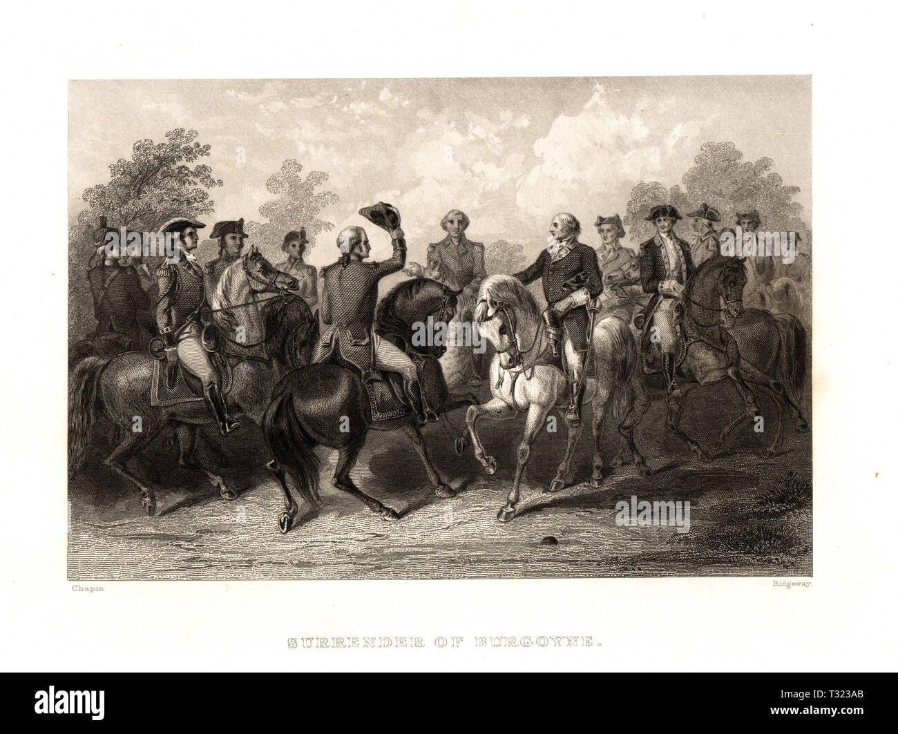Surrender of the British General Burgoyne to US General Horatio Gates after the Battle of Saratoga, New York in 1777 during the American Revolutionary War Stock Photo