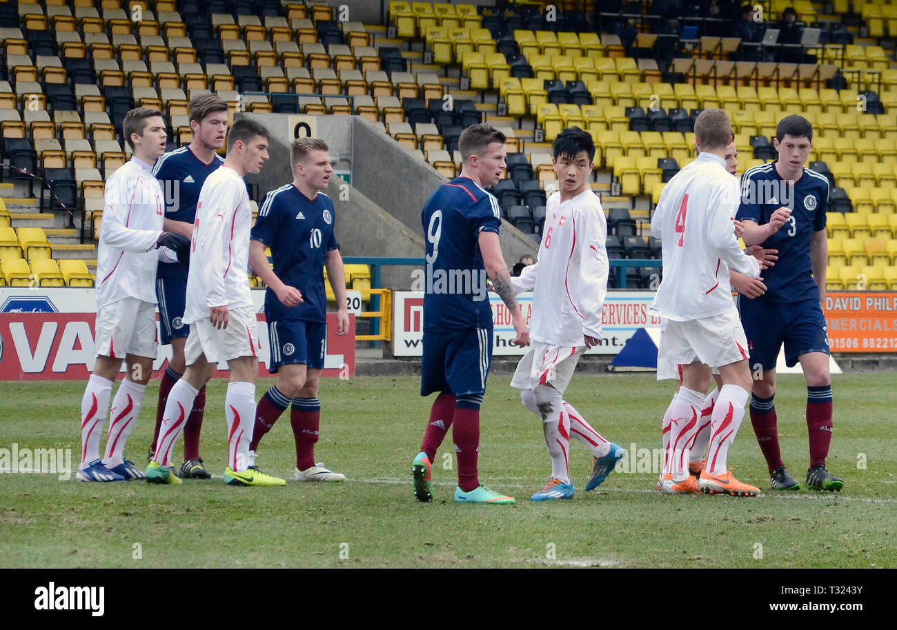 LIVINGSTON, SCOTLAND - 5th MARCH 2014: Scotlands Mens U19s Stock Photo