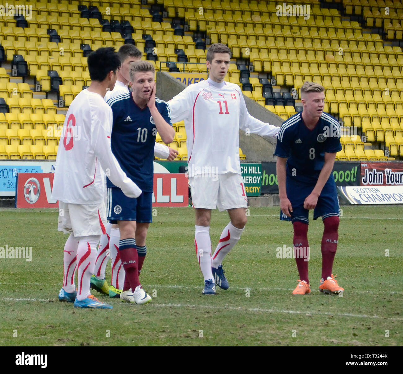 LIVINGSTON, SCOTLAND - 5th MARCH 2014: Scotlands Mens U19s - Stock Image