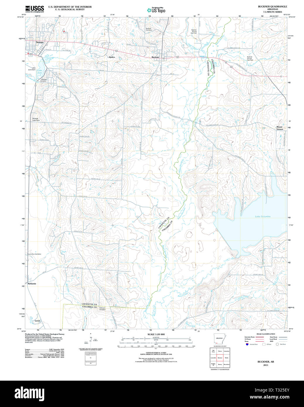 USGS TOPO Map Arkansas AR Buckner 20110711 TM Restoration - Stock Image