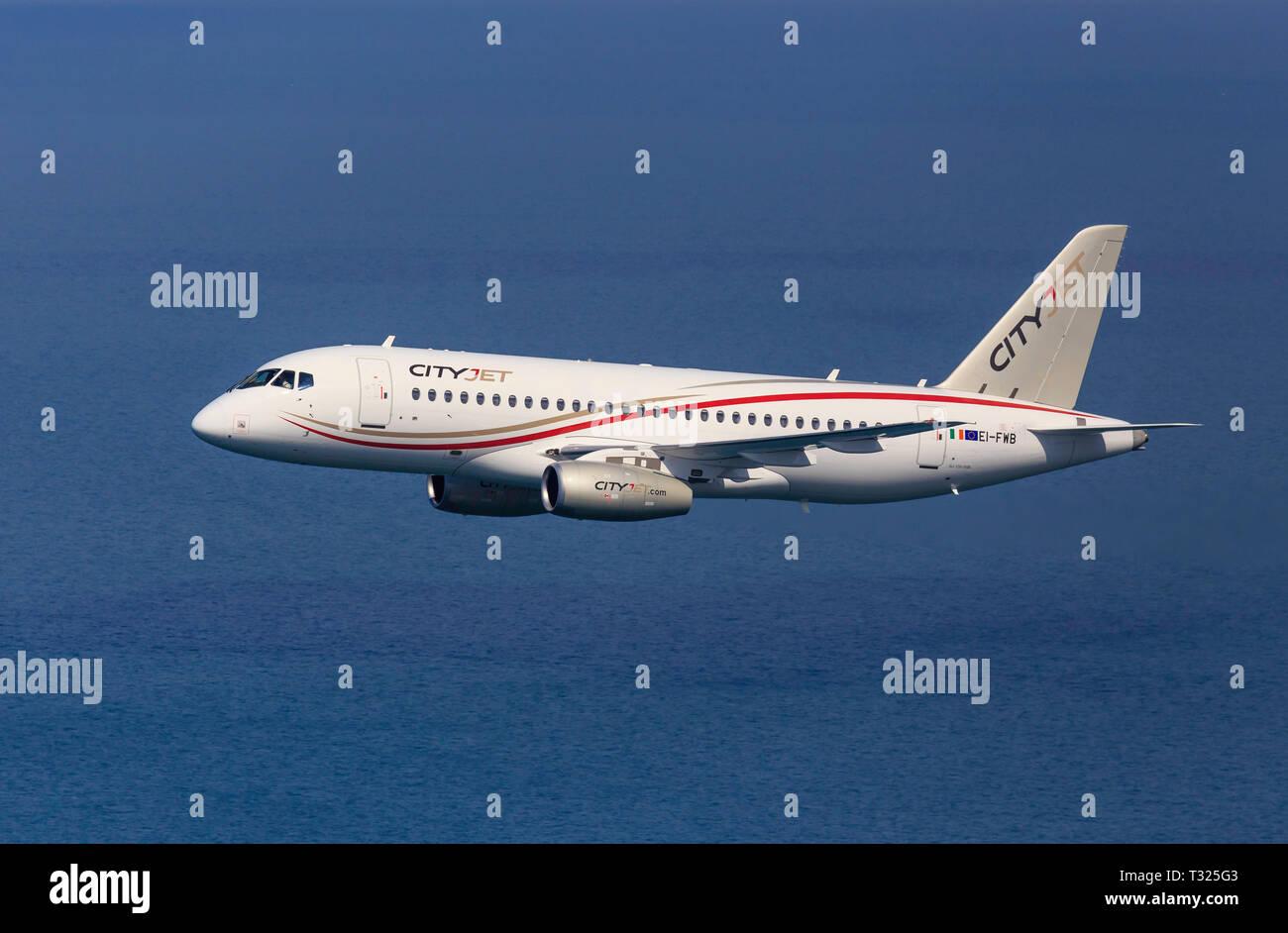 Sukhoi Superjet 100, Cityjet EI-FWB - Stock Image