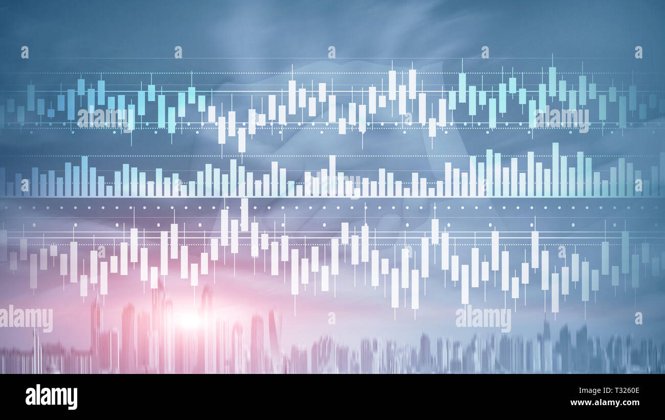 Candles chart diagram graph stock trading investment business finance concept mixed media double exposure virtual screen. - Stock Image