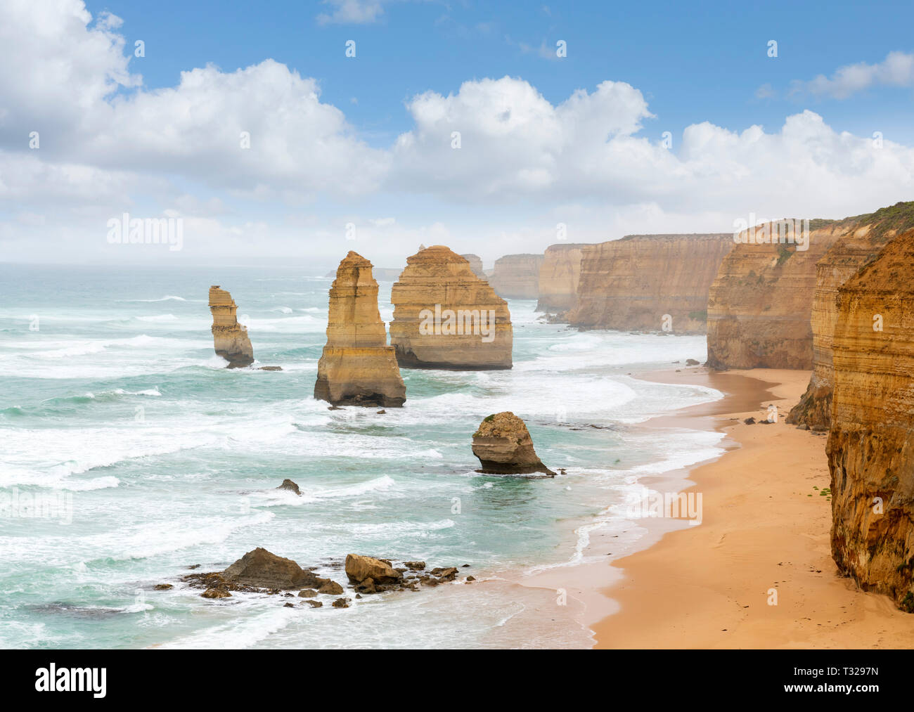 Twelve Apostles, Australia. View of some of the 12 Apostles from the viewpoint in Port Campbell National Park, Great Ocean Road, Victoria, Australia Stock Photo