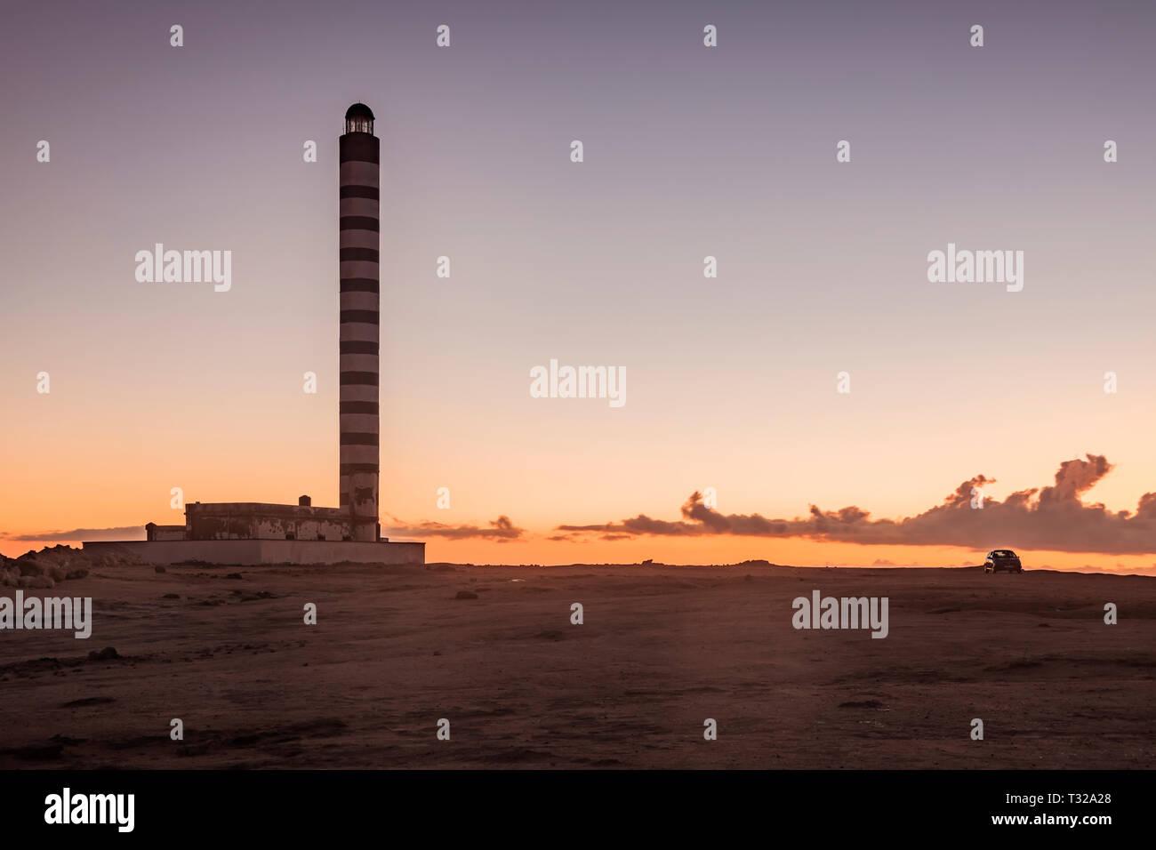 Lighthouse in Dakhla. Dakhla, Western Sahara, Morocco. - Stock Image