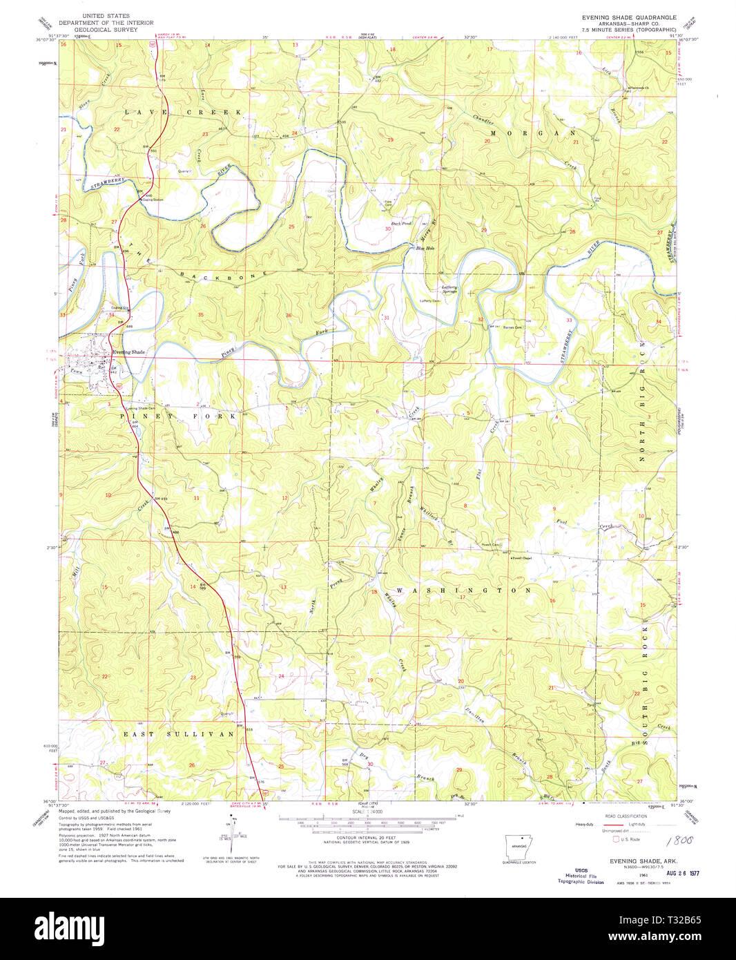 USGS TOPO Map Arkansas AR Evening Shade 258421 1961 24000 ...