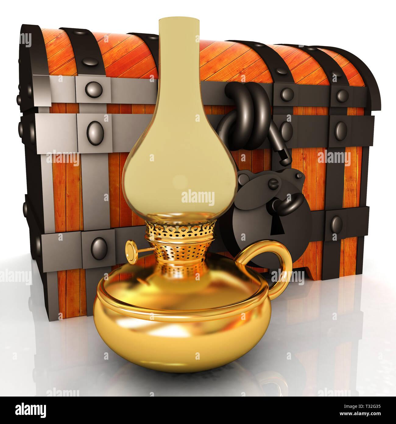 Retro kerosene lamp and old chest. 3d render - Stock Image