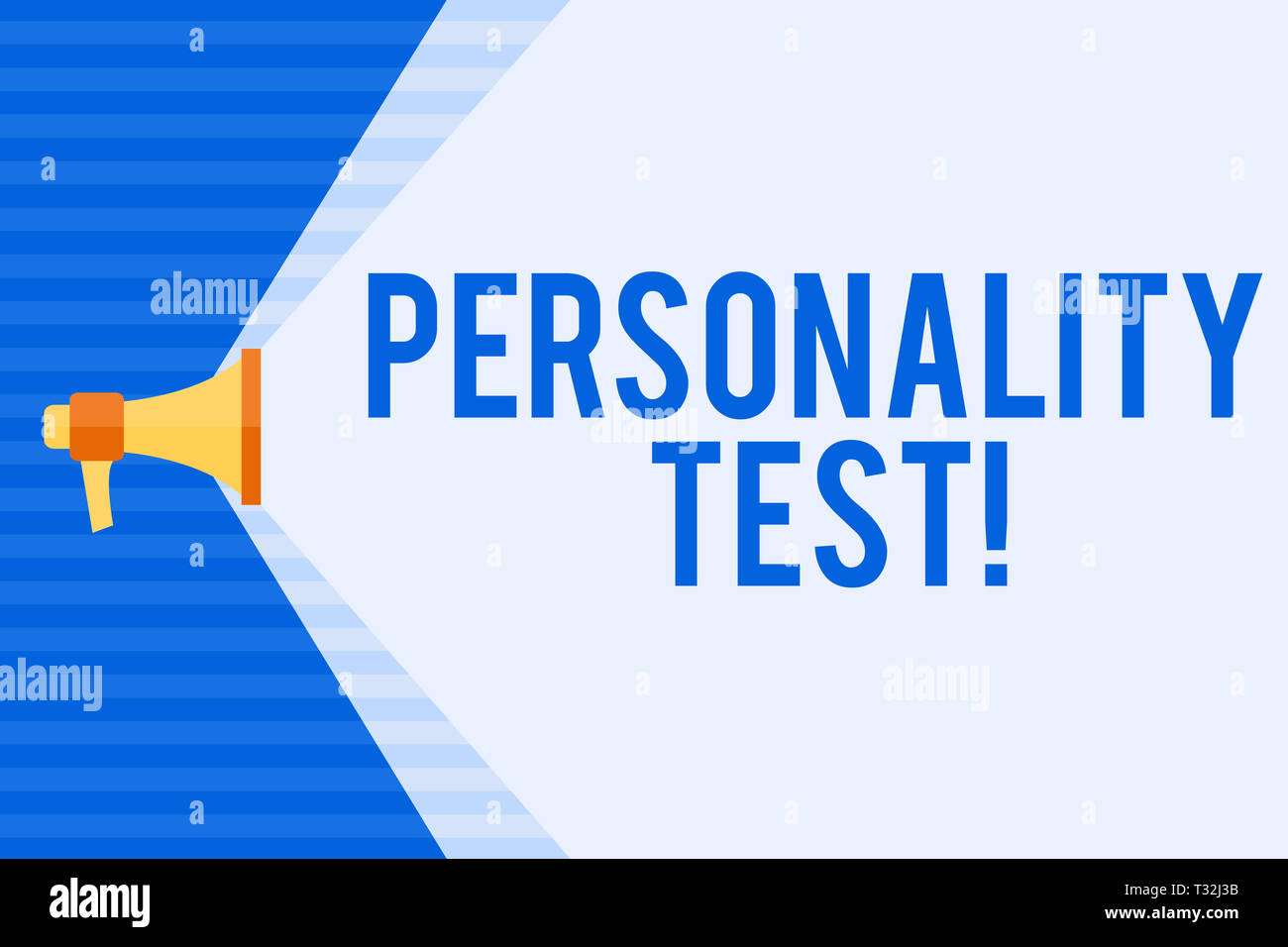 Conceptual hand writing showing Personality Test. Concept meaning method used assessing huanalysis demonstratingality constructs Megaphone Extending t - Stock Image