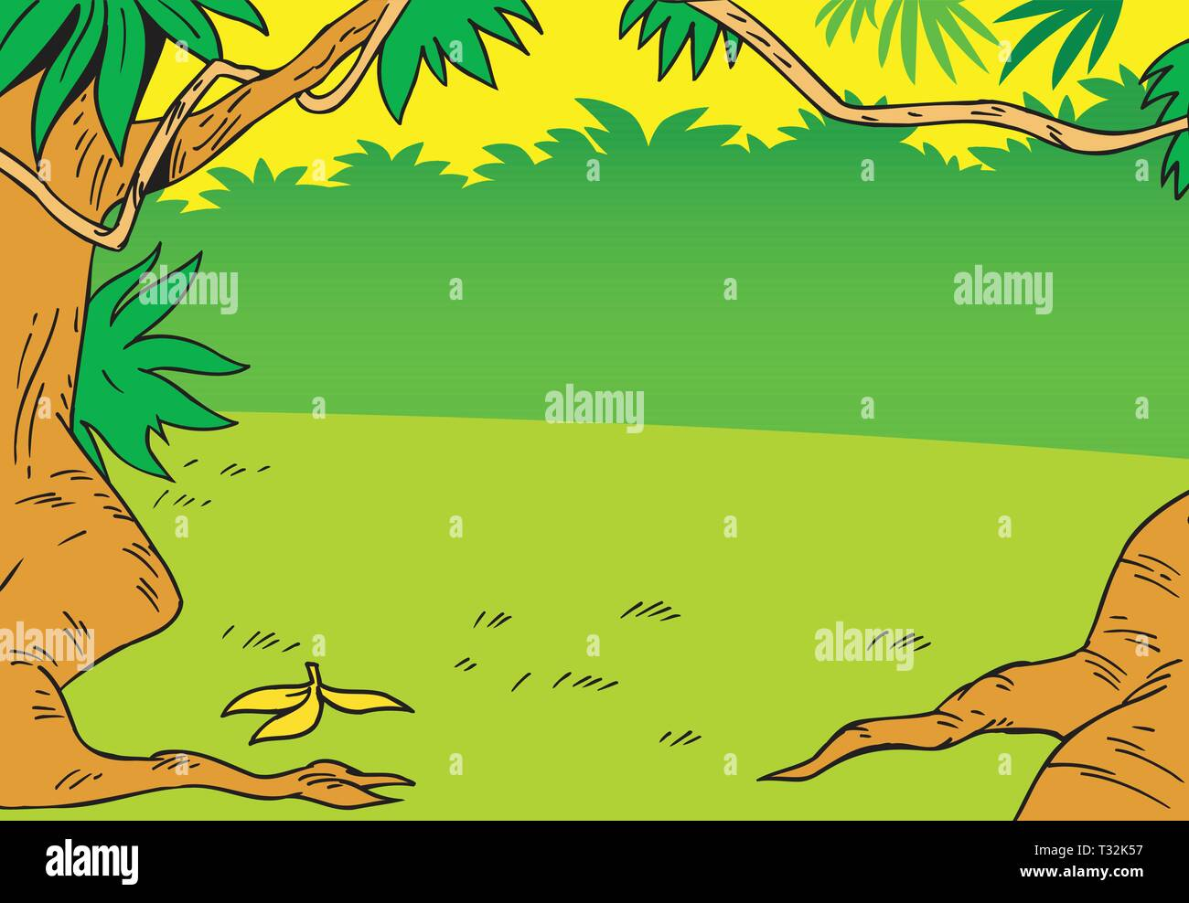 Cartoon Background With Glade In The Jungle Stock Vector Image Art Alamy