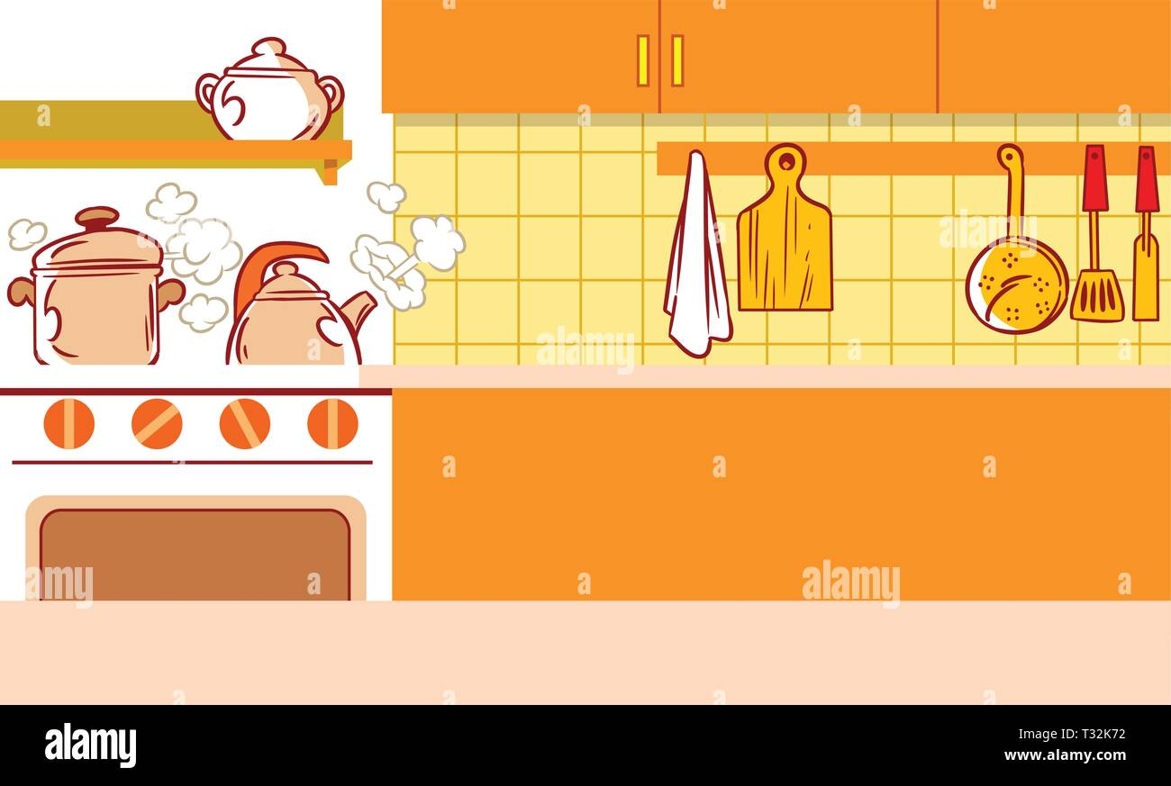 The illustration shows the interior of kitchen and kitchen utensils in a cartoon style - Stock Vector