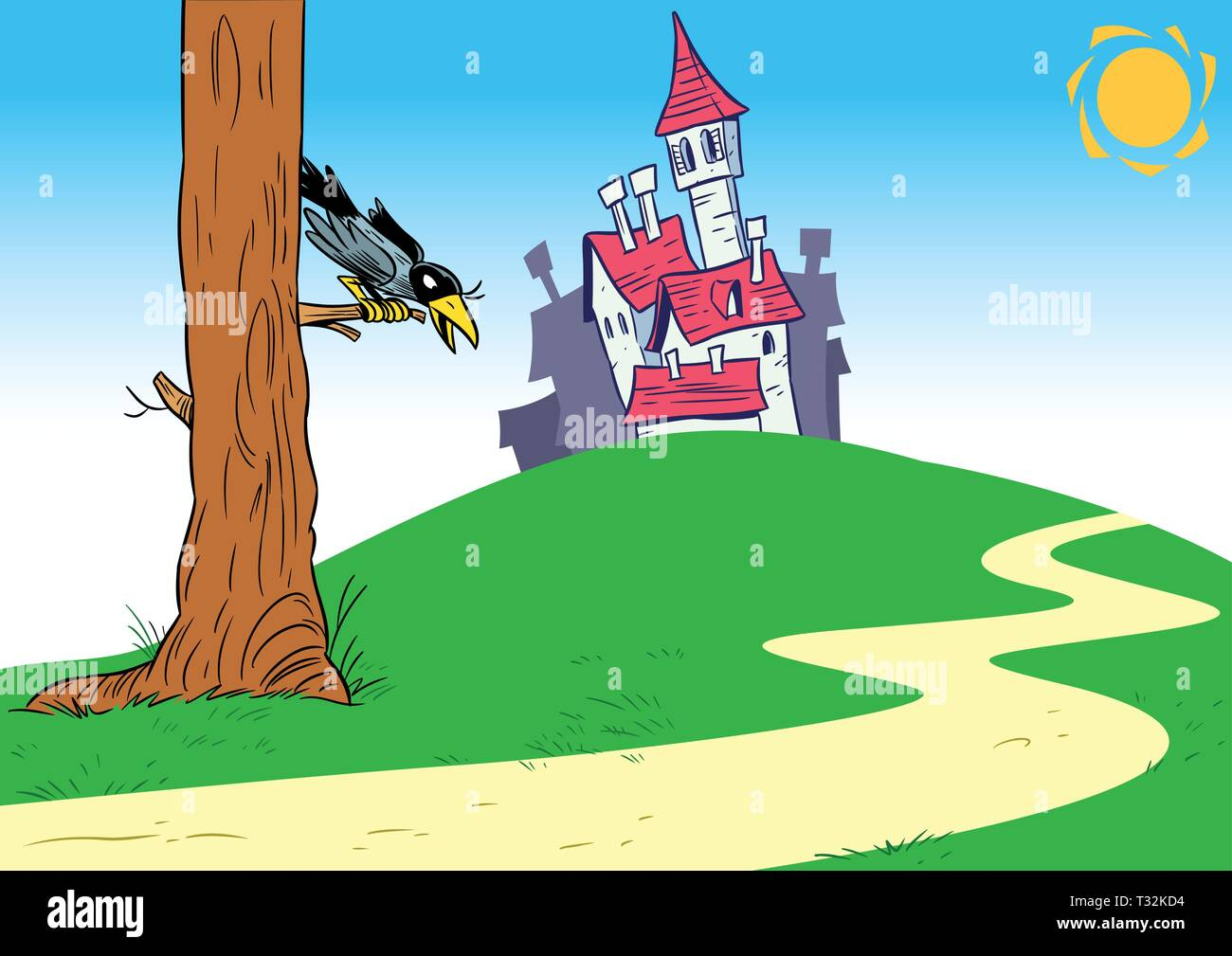 The illustration shows old lock on landscape summer background meadows and road. Near the road is a large tree, on which sits crow. Illustration done  - Stock Vector