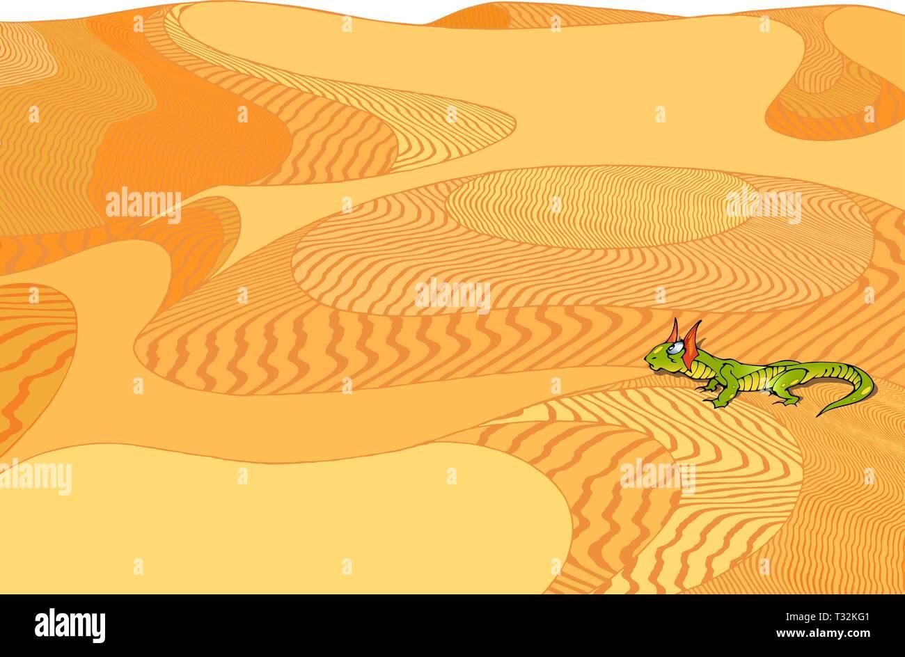 On the background of yellow desert green lizard - Stock Vector