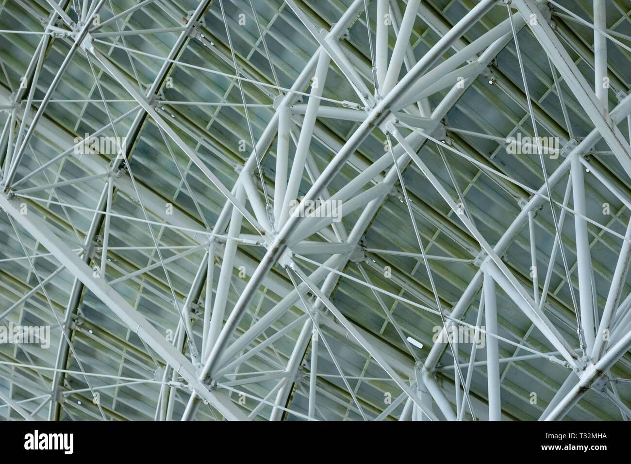 Huge white radio satellite dish close up shot. - Stock Image