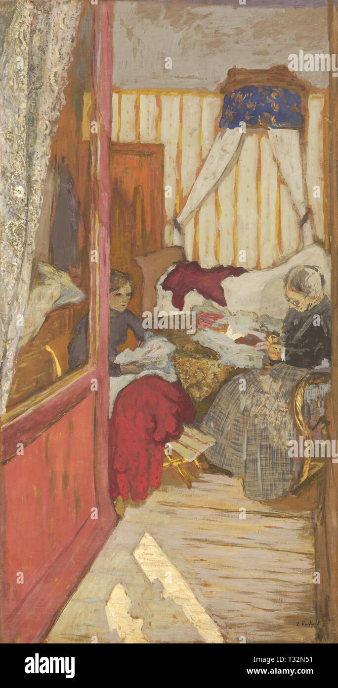 Edouard Vuillard (French, 1868 - 1940), Women Sewing, c. 1912, glue on paper on canvas, Collection of Mr. and Mrs. Paul Mellon 1985.64.43 - Stock Image
